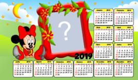 Moldura Calendario Minnie Baby Vermelha. Faça o seu com uma Foto!