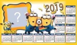 Moldura Calendário dos Minnios 2019. Faça o seu com Foto!