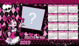Moldura Calendário 2019 da Monster High. Faça o seu com uma foto!