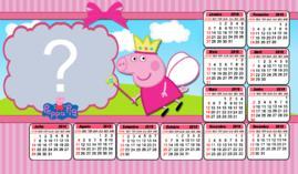 Moldura calendário Peppa Pig Fadinha. Faça a sua com foto!