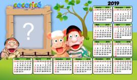 Moldura calendário 2019 Cocoricó. Faça o seu!