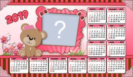 Moldura Calendário 2019 Ursa Marrom e Rosa. Faça o seu com uma foto!