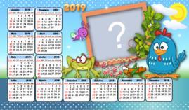 Moldura Calendário 2019 da Galinha Pintadinha. Faça com uma foto!