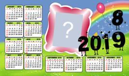 Calendário 2019 de Ano Novo em inglês. Faça o seu com Foto!