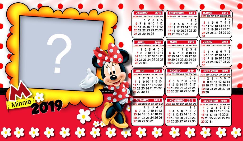 calendário 2019 da minnie vermelha adicione uma foto