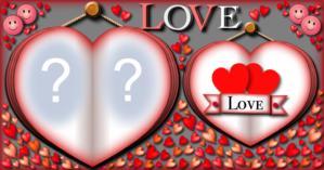 Moldura Love com duas fotos. Faça a Sua!