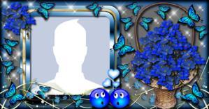 Como ficaria sua foto de perfil nesta Linda Moldura com Cesta de Flores Azuis?