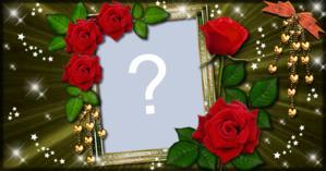 Cadru frumos cu trandafiri roșii. Adăugați fotografia dvs.!