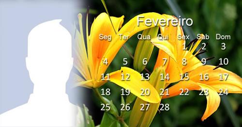 Calendário de Fevereiro de 2019 com fundo de flores - Faça o seu!