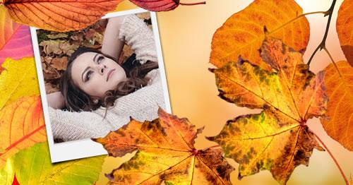 Montagem de foto do Outono. Adicione sua foto.