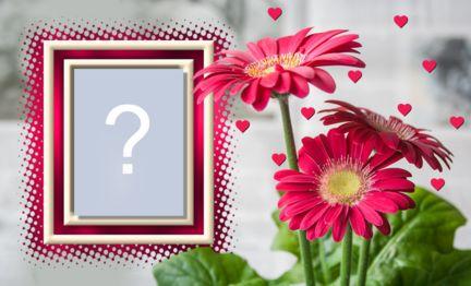 Linda moldura com Flor Rosa e corações. Adicione uma foto!