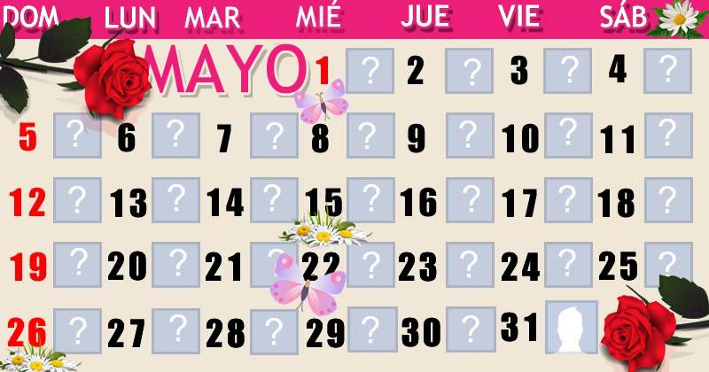 Calendario mes de Mayo con 30 amigos. ¡haga el suyo!