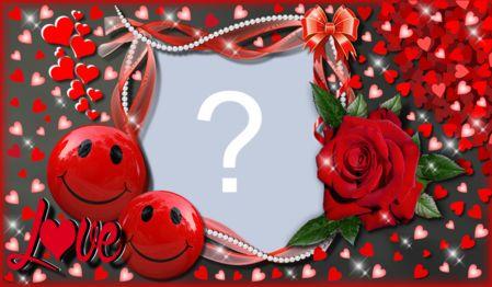 Moldura Love com Rosas e Emotions. Adicione sua foto!