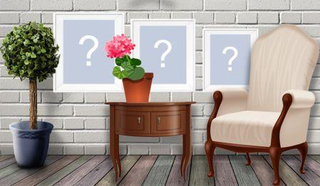 Bellissimo montaggio con 3 foto sul muro. Crea il tuo!