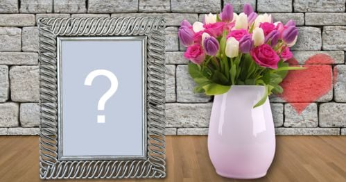 Beautiful frame with white vase full of flowers. Add a photo!