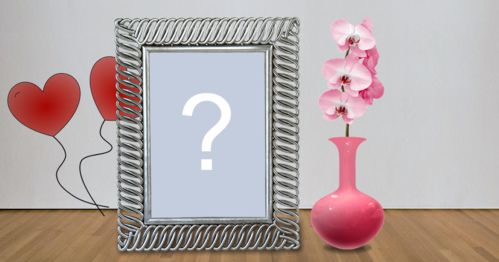 Beautiful frame with pink vase full of flowers! Add a photo!