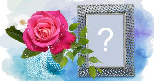 Bella cornice con sfondo blu astratto e fiori. Aggiungi la tua foto!