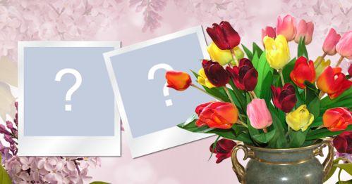 Moldura para duas fotos, com vaso cheio de tulipas de várias cores. Adicione duas fotos!