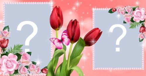 Bella cornice di rose per 2 foto. Crea il tuo!