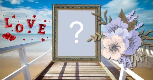 Montagem de foto com moldura em cima da ponte, flores e palavra LOVE. Adicione uma foto!