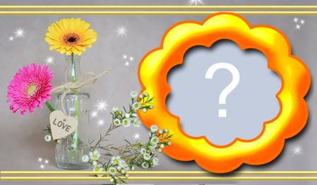 Frame with flower in the vase. Add your photo!
