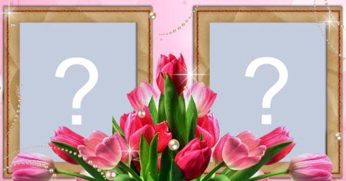 Moldura de tulipas rosas para duas fotos. Crie e a sua!