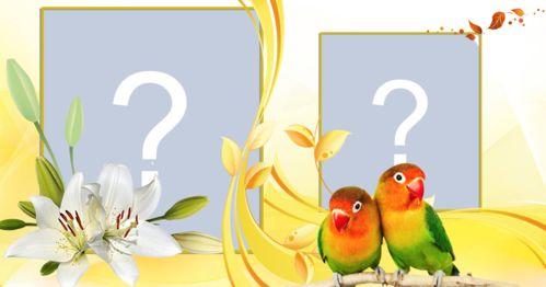 Moldura com pássaro amarelo para duas fotos . crie a sua!