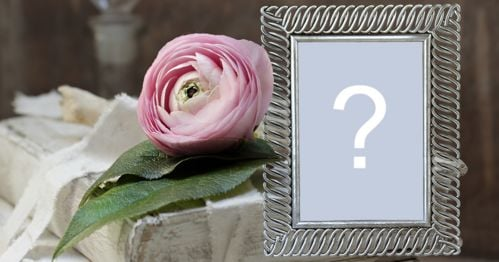 Beautiful frame with pink flower on top of a book and silver border! Add a photo!