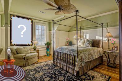 Montagem de foto na parede do quarto. Adicione uma foto para fazer a sua!