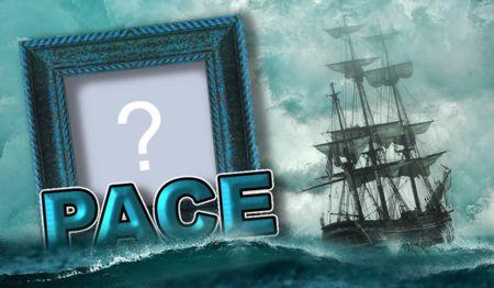 Bella cornice con la parola Pace sull'acqua. Aggiungi una tua foto!