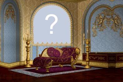 Crie uma montagem com sua foto no quarto do Palacio.
