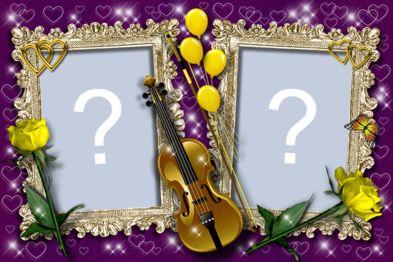 Linda Moldura de violino com duas fotos. Adicione suas fotos!