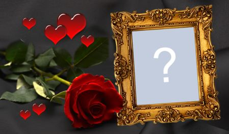 Beautiful frame of red rose with little hearts. Add your photo!