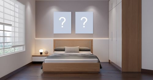 Add 2 photos to the wall of a beautiful bedroom. Create your photomontage!