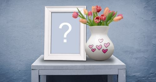 Put your photo in a picture frame on a small table with a vase of tulips!
