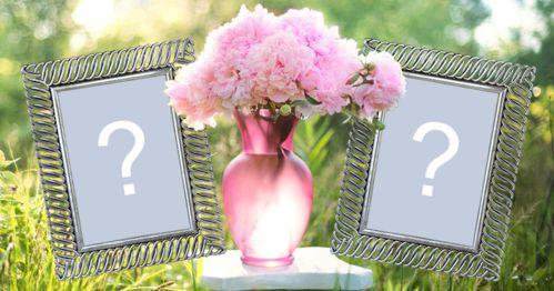 Beau cadre pour 2 photos avec vase rose plein de fleurs roses!