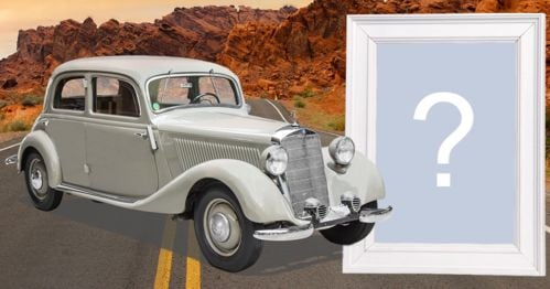 Montagem de foto com carro clássico Mercedes-Benz 170d. Adicione sua foto!