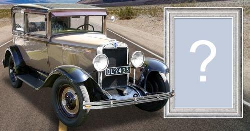 Montagem de foto com carro clássico da Chevrolet. Adicione sua foto!