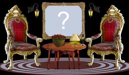 Photo montage with two antique chairs and coffee table. Add a photo!