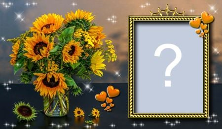 Frame with a beautiful vase of sunflowers. Add your photo!