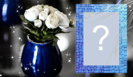 Beautiful blue vase frame with white flowers. Add a photo!