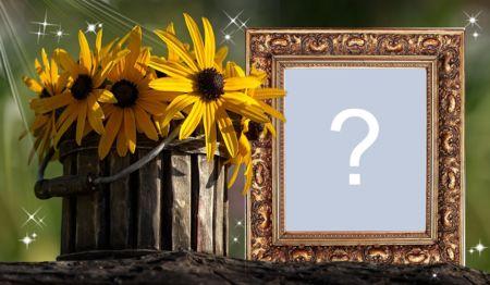 Beau cadre avec vase de fleurs jaunes. Ajouter une photo!