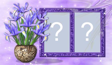 Linda moldura com vaso de flor lilás para adicionar duas fotos. Faça a sua!