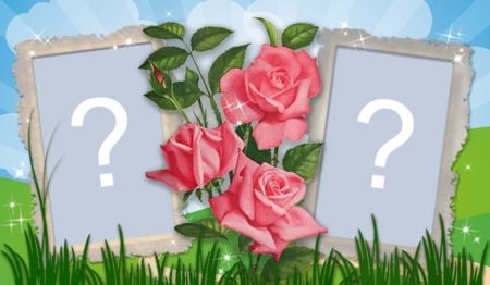 Beautiful frame of roses with two photos. Add a photo!