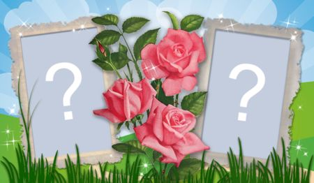 Linda moldura com duas fotos e rosas no Jardim. Adicione uma foto!