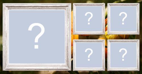 Mosaico para 5 fotos com bordas de madeira em volta das fotos!