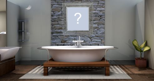 Add your favorite photo on the wall of a beautiful bathroom with a bathtub!
