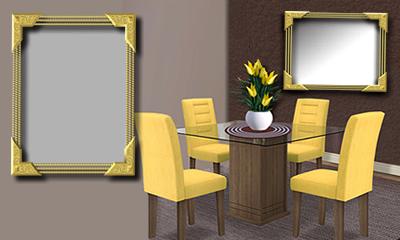 Montagem com foto na parede da sala de jantar com cadeiras amarelas. Faça a sua!