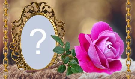 Beautiful golden frame with rose. Add a photo!