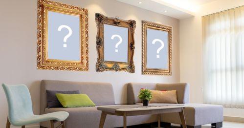 Linda foto montagem com 3 fotos na parede de uma bela sala de estar!